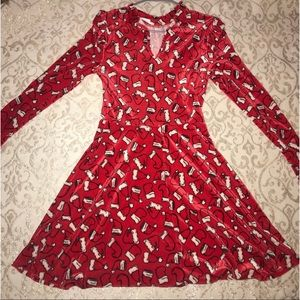 Velour Christmas Dress Santa Hat Velvet size M